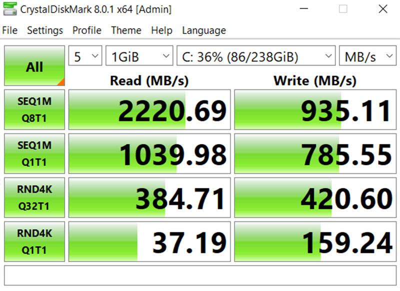 Đo tốc độ đọc ghi của SSD 256 GB