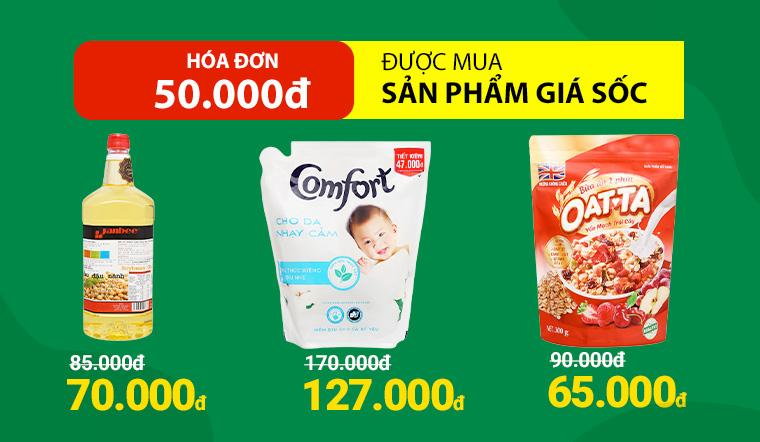 Từ ngày 19/4 - 22/4, hóa đơn 50.000đ được mua nhiều sản phẩm với giá sốc