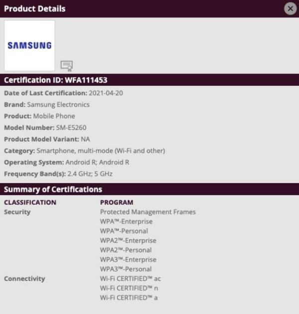 Wi-Fi Alliance phê duyệt SM-E5260, được cho là tên mã của Galaxy F52 5G