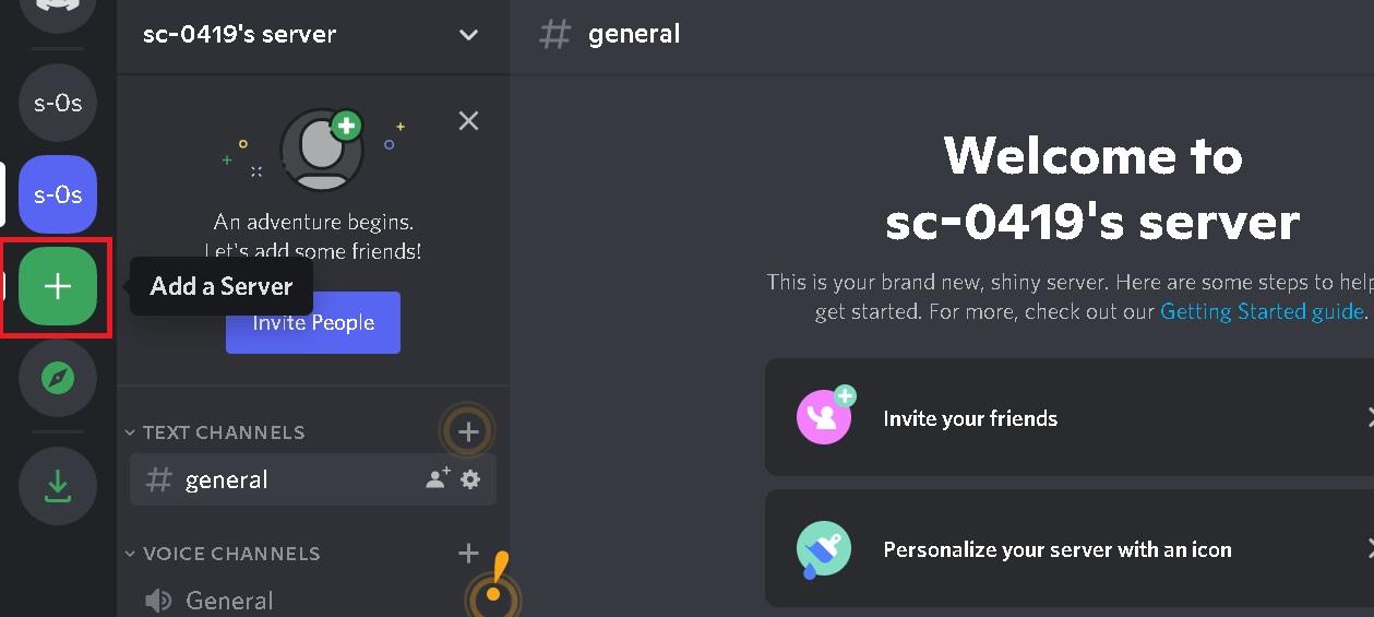 Để tham gia vào một server khác, bạn chọn vào biểu tượng dấu + (Add a Server)