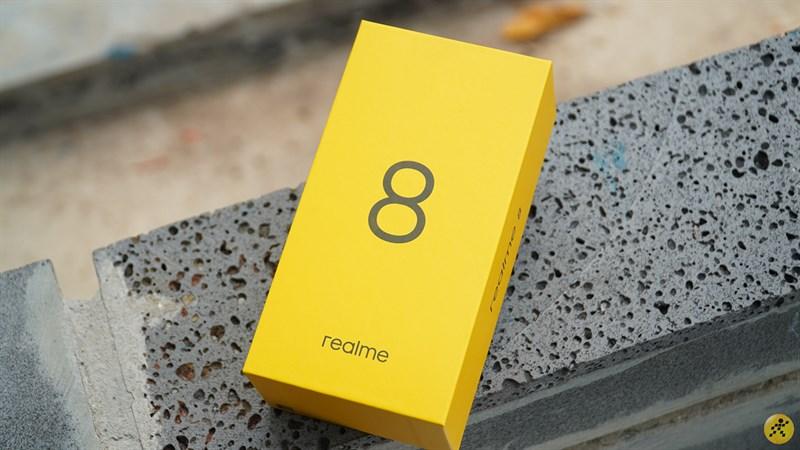 Realme 8 box with distinctive gold color
