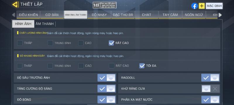 Thiết lập đồ họa trong game Call of Duty Mobile mà iPhone 11 có thể tùy chỉnh được.