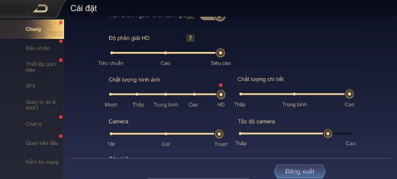 Thiết lập đồ họa trong game Liên Quân Mobile mà iPhone 11 có thể tùy chỉnh được.