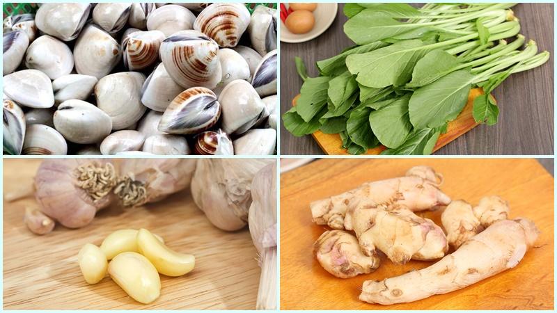 Nguyên liệu làm món canh ngao cải xanh