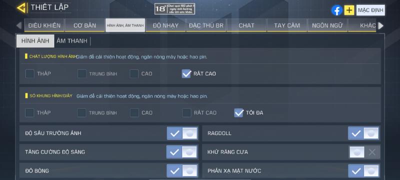 Thiết lập đồ họa của Call of Duty mà iPhone 12 Pro Max chỉnh được.