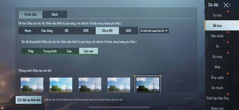 Thiết lập cấu hình game PUBG Mobile