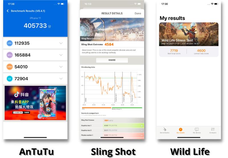 Điểm hiệu năng của iPhone 11 được chấm bằng AnTuTu Benchmark (bên trái), 3DMark Sling Shot Extreme (giữa) và 3DMark Wild Life Stress Test (bên phải).