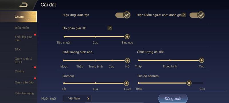 Thiết lập đồ họa trong game Liên Quân Mobile mà iPhone 11 có thể chỉnh được.