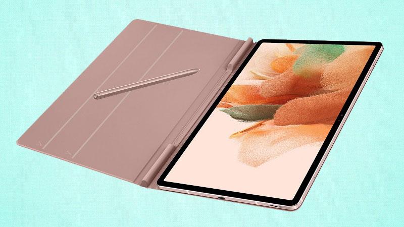 Máy tính bảng Samsung Galaxy Tab S7 Lite xuất hiện sắc nét thông qua bộ ốp lưng với thiết kế cạnh phẳng, hỗ trợ bút S Pen