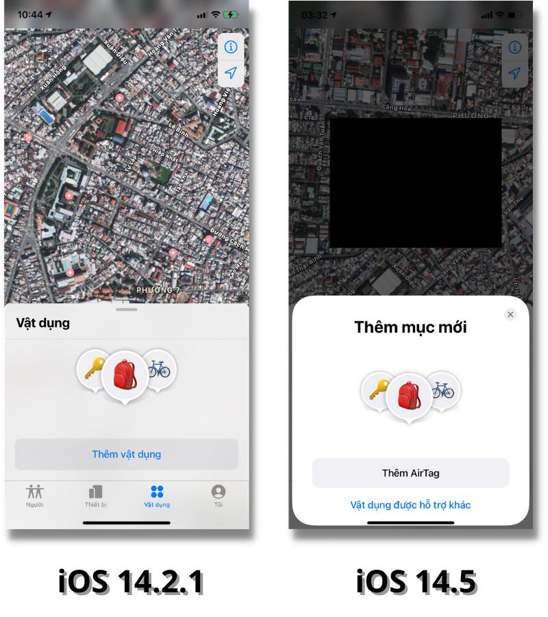 iOS 14.5 trên iPhone 12 Pro đã thêm AirTag vào trong ứng dụng Tìm.