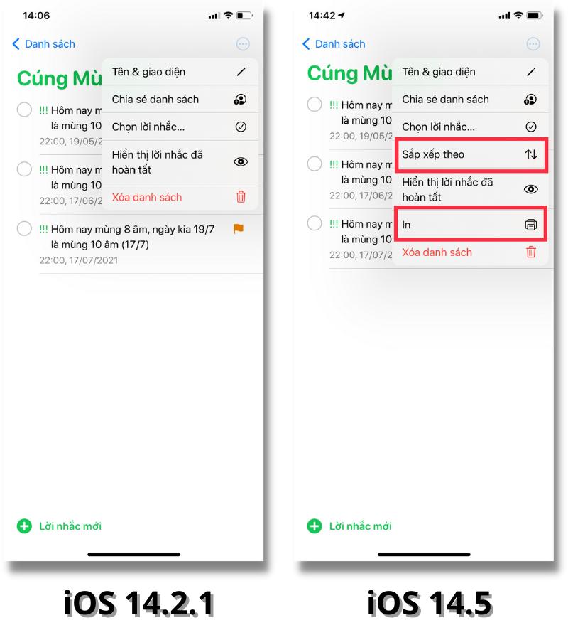 Mình có thể xếp lời nhắc xếp theo từng mục như: ngày đến hạn, ngày tạo, mức ưu tiên hoặc tiêu đề trên iOS 14.5 (bên phải).