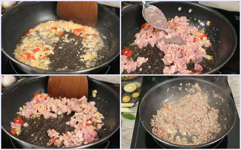Xào thịt xay với mắm tôm