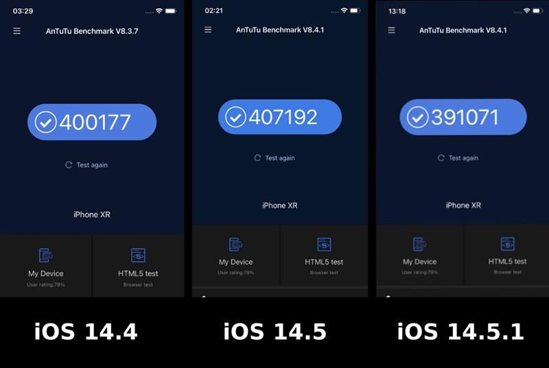 Điểm AnTuTu của iPhone XR chạy iOS 14.4, iOS 14.5 và iOS 14.5.1