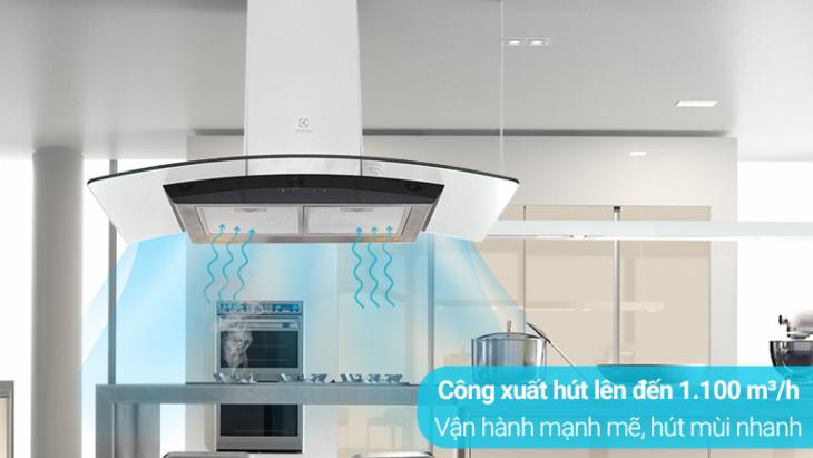 Máy hút mùi áp tường có công suất hút lớn, vận hành bền bỉ