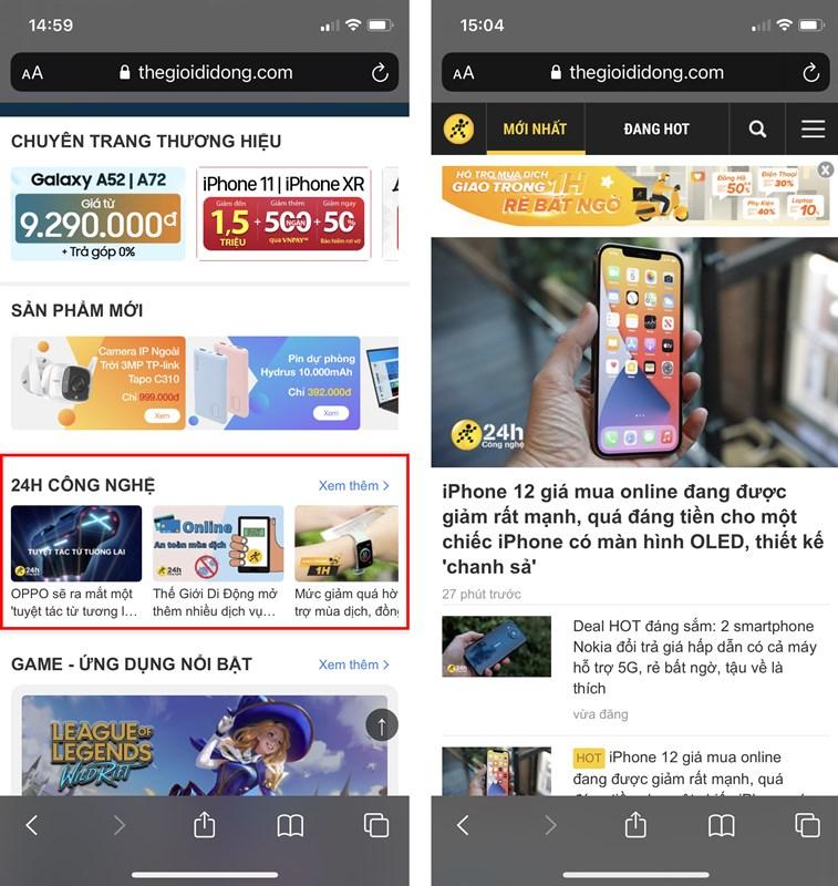 Cach-xem-chuyen-trang-moi-tren-website-TGDD
