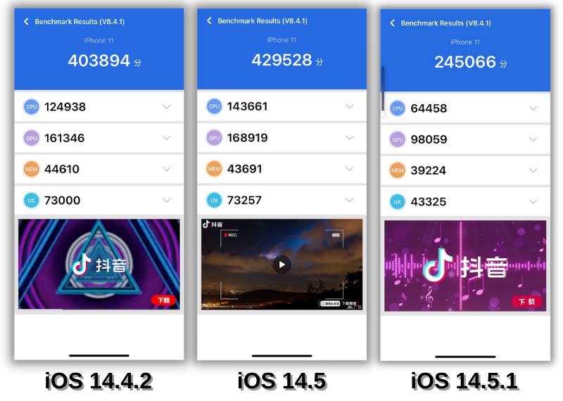 Điểm AnTuTu của iPhone 11 chạy iOS 14.4.2 (bên trái), iOS 14.5 (ở giữa) và iOS 14.5.1 (bên phải).