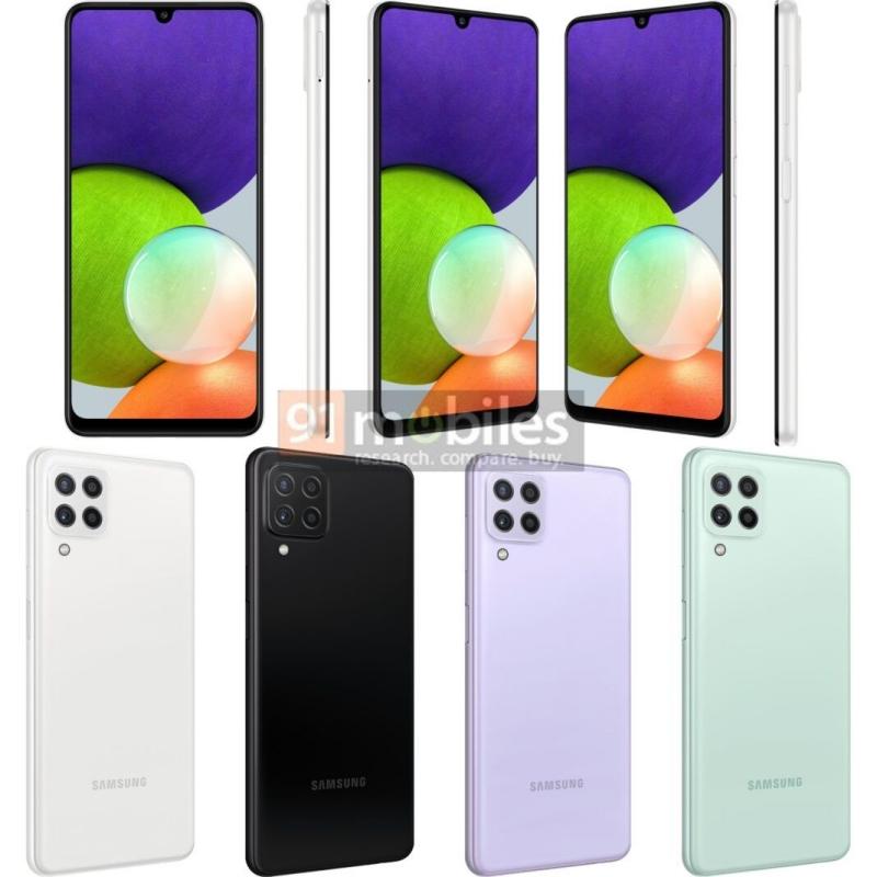 Ảnh render Samsung Galaxy A22 4G với bốn tùy chọn màu sắc