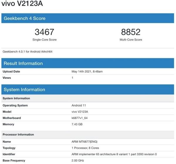 Vivo V2123A dùng chip Dimensity 900 mới xuất hiện trên Geekbench