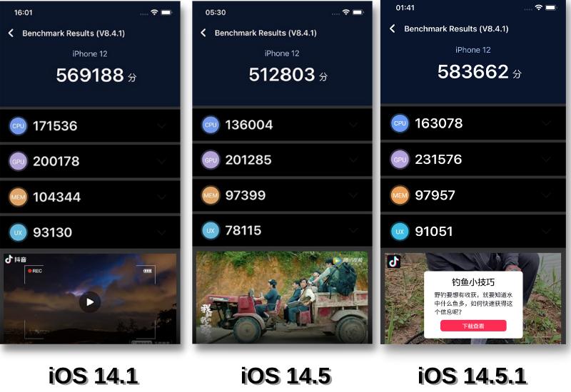So sánh điểm AnTuTu Benchmark của iOS 14.1 (bên trái), iOS 14.5 (ở giữa) và iOS 14.5.1 (bên phải).