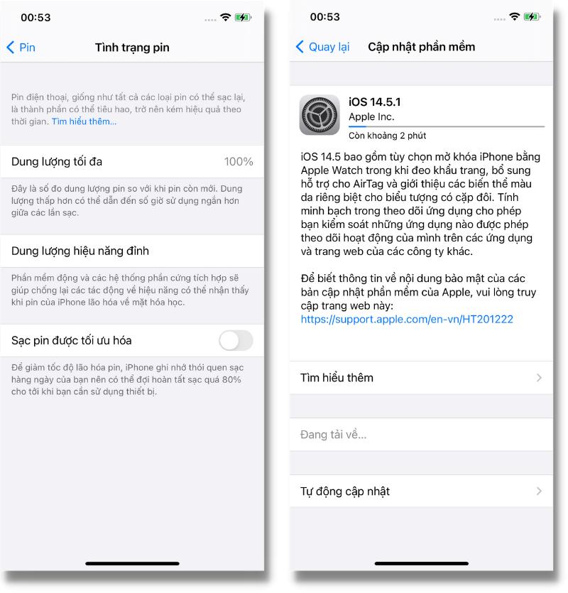 Tình trạng pin iPhone 12 của mình trước khi cập nhật iOS 14.5.1.