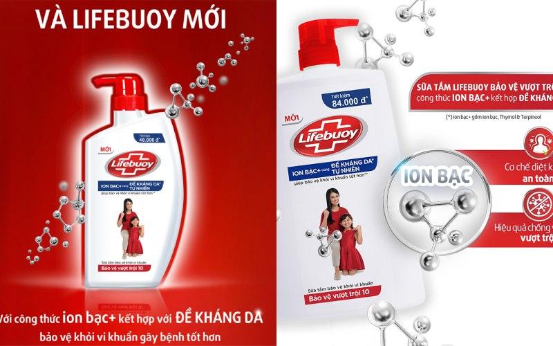 Sữa tắm bảo vệ khỏi vi khuẩn Lifebuoy bảo vệ vượt trội
