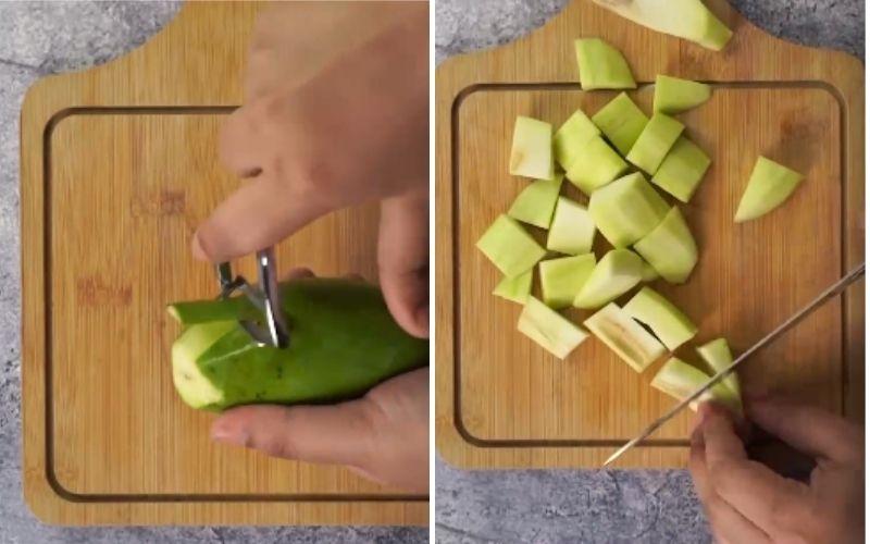Bước 1: Gọt và cắt xoài
