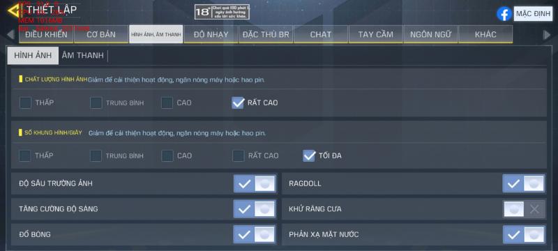 Thiết lập đồ họa trong Call of Duty Mobile mà Galaxy S20 có thể chỉnh được.