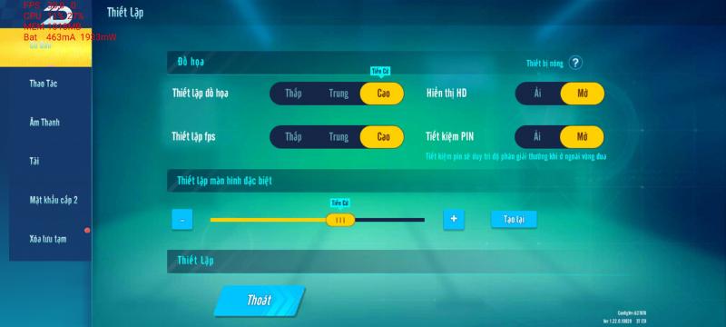 Galaxy S20 hoàn toàn có thể chỉnh được đồ họa trong Zing Speed Mobile lên mức cao nhất.