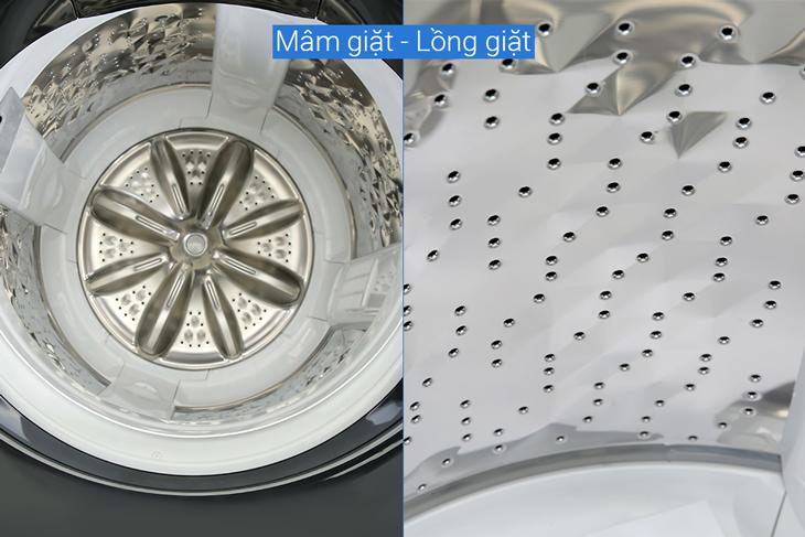 Lồng giặt Sazanami và mâm giặt 8 cánh được làm từ chất liệu thép không gỉ