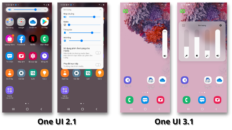Giao diện điều chỉnh âm lượng của Galaxy S20 chạy One UI 2.1 (bên trái) và One UI 3.1 (bên phải)
