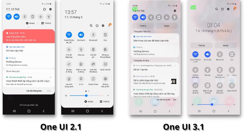 Giao diện thanh thông báo trên Galaxy S20 chạy One UI 2.1 (bên trái) và One UI 3.1 (bên phải).