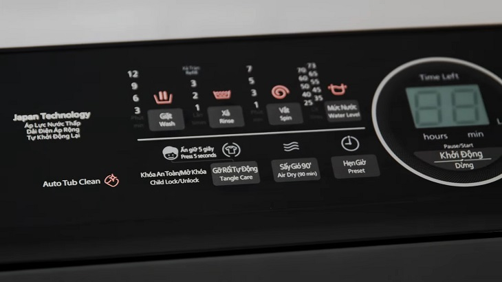 Bên trái bảng điều khiển máy giặt