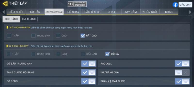 Thiết lập đồ họa trong Call of Duty Mobile mà Galaxy S21 5G của mình chỉnh được.