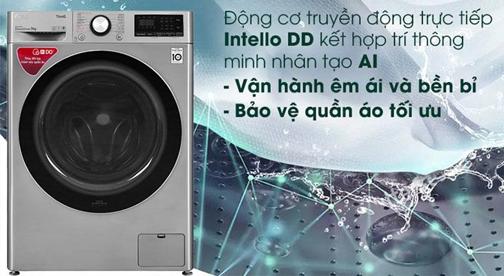 Máy giặt LG Inverter 9 kg FV1409S2V với AI phân tích khối lượng quần áo
