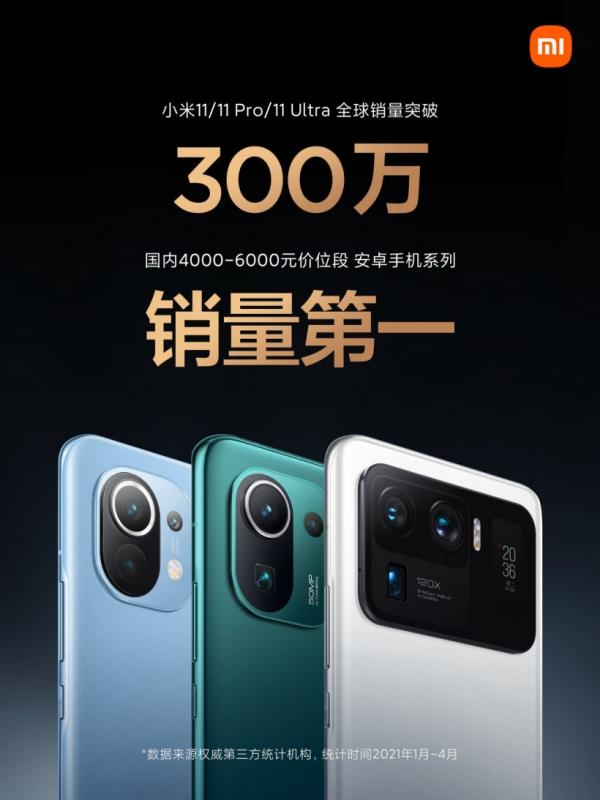 Xiaomi đã bán được hơn 3 triệu chiếc Mi 11, Mi 11 Pro và Mi 11 Ultra trên toàn cầu