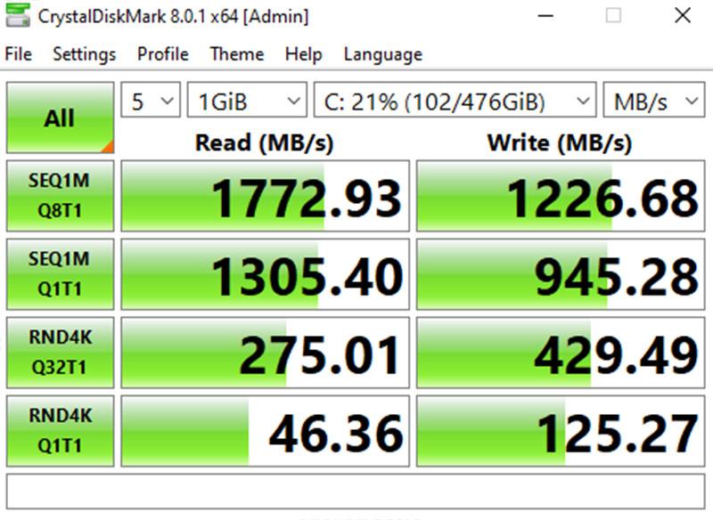Đo tốc độ đọc và ghi của ổ cứng SSD 512 GB