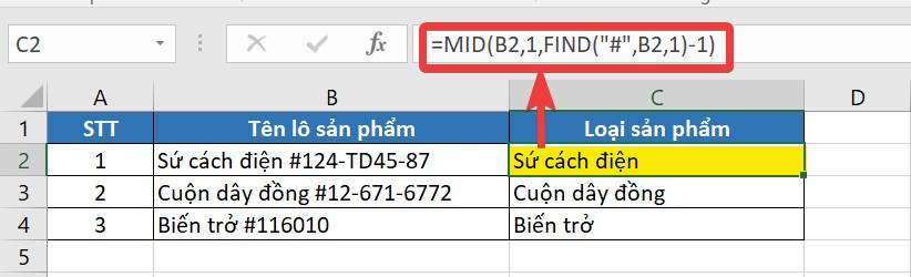 Công thức nhập và kết quả khi dùng FIND kết hợp MID
