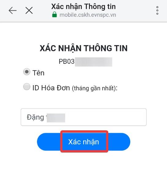Nhập Tên hoặc ID hóa đơn, bấm Xác nhận