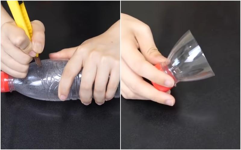 Bước 1: Bạn dùng dao rọc giấy cắt phần đầu trên của chai nhựa ra như hình bên dưới.