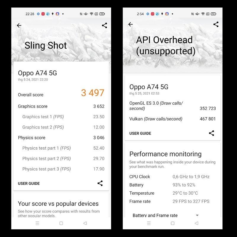 Điểm hiệu năng 2D và 3D trên OPPO A74 5G