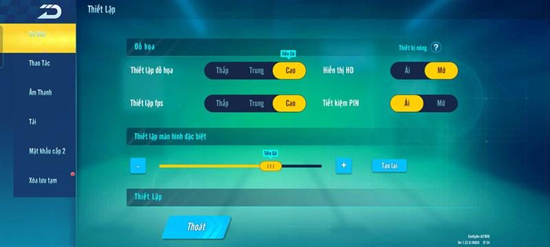 Thiết lập cấu hình của ZingSpeed trên OPPO A74 5G