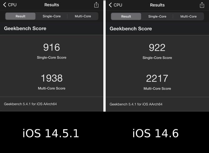 So sánh điểm Geekbench 5 của iPhone 8 Plus ở iOS 14.5.1 và ở iOS 14.6
