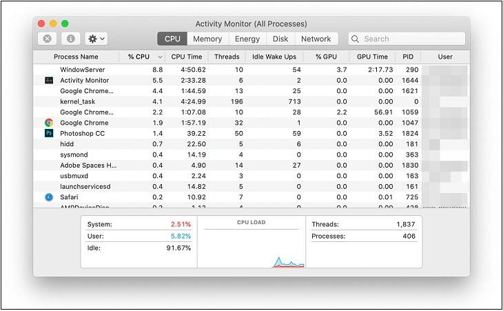 Dùng Activity Monitor