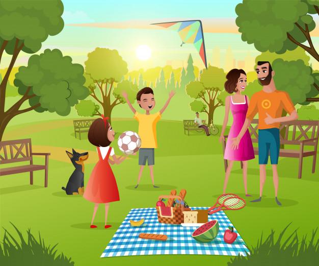 Ảnh minh họa gia đình đi picnic cùng nhau
