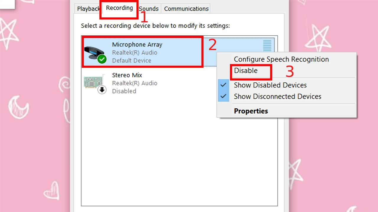 Chuyển sang tab Recording > Nhấn Chuột phải vào bộ phận thu âm > Chọn Disable.
