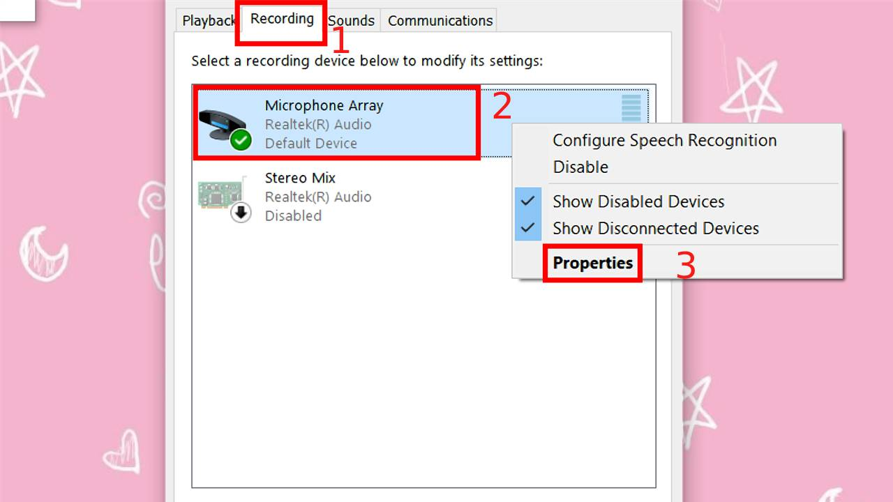 Click chuột phải vào Microphone > Chọn Properties