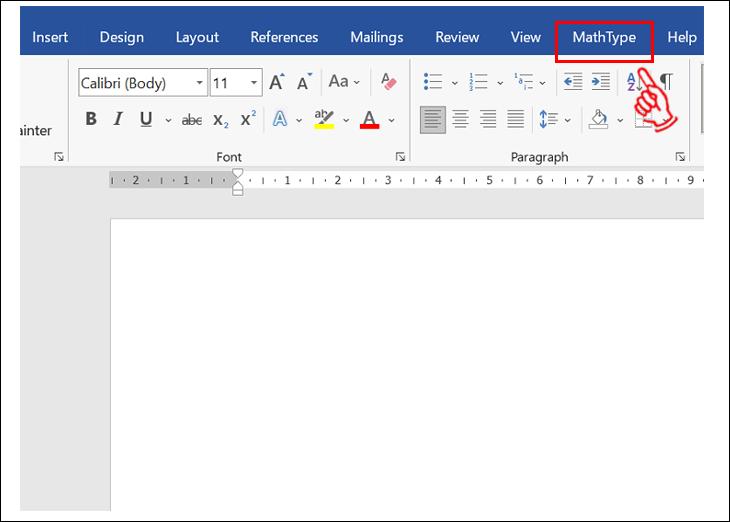 Vào Word  và Nhấn vào MathType trong Word