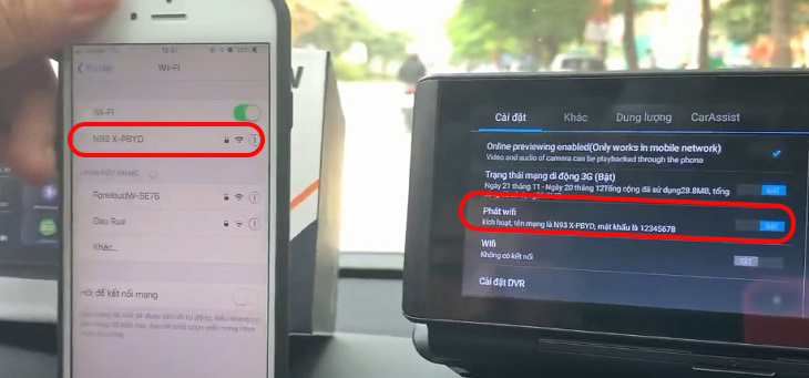 Kết nối điện thoại với camera hành trình WEBVISION N93X