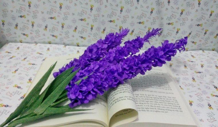 Cách làm hoa lavender bằng giấy nhún