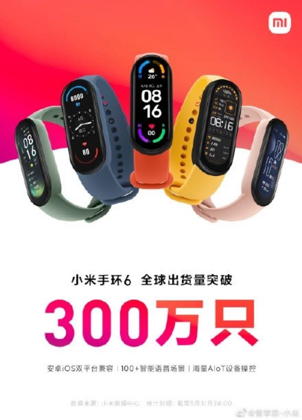 Xiaomi Mi Band 6 vượt mốc doanh số 3 triệu chiếc trên toàn cầu